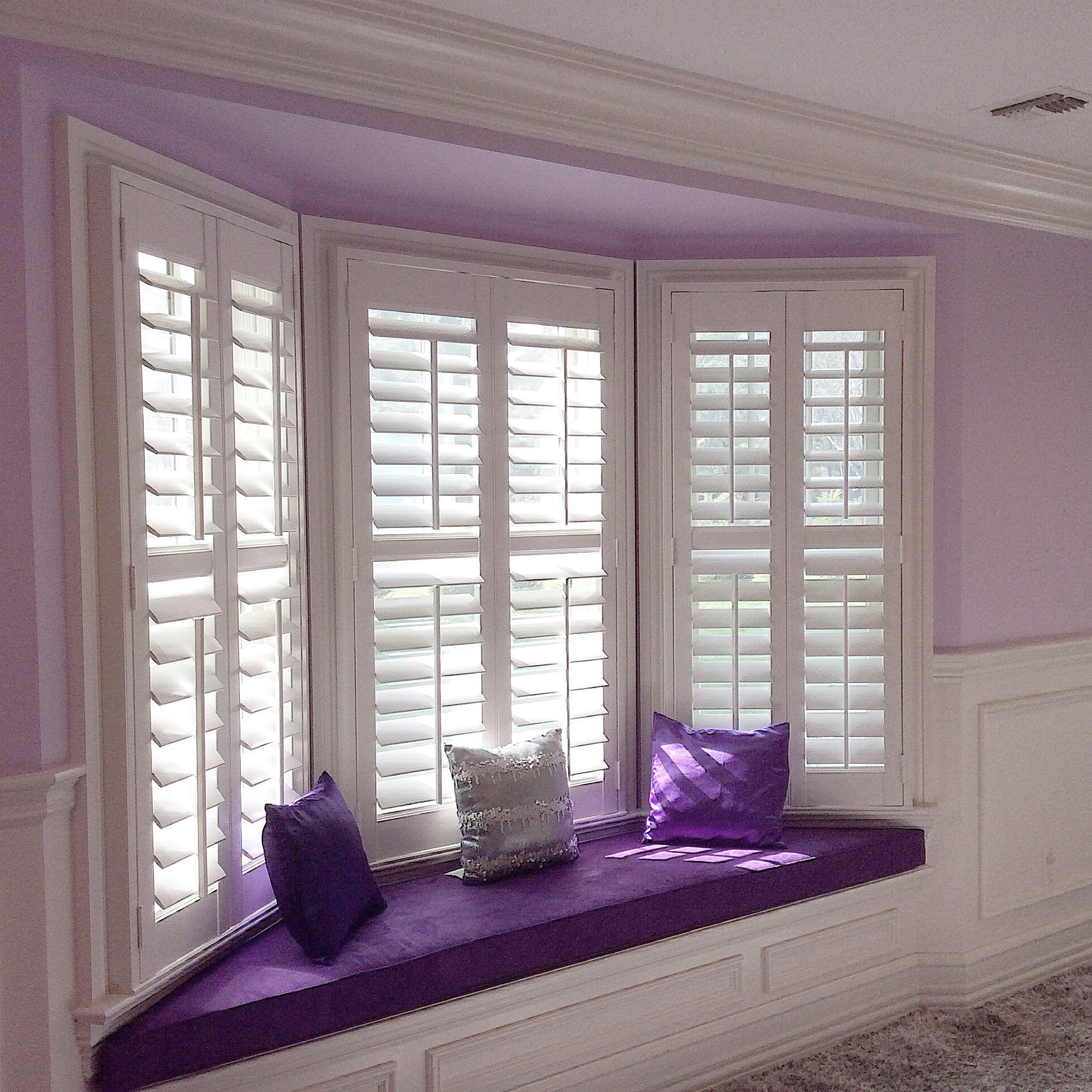 Purple is the color of royalty a beautiful custom window - Hunter douglas interior shutters ...