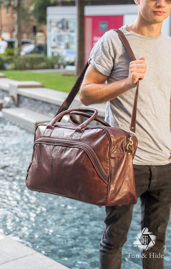 Holdall leather bag, Hand luggage, Dark brown Kit bag, Travel bag, Extra Large bag, Gym men bag, Carry on, Oversized bag, Genuine leather #handluggage