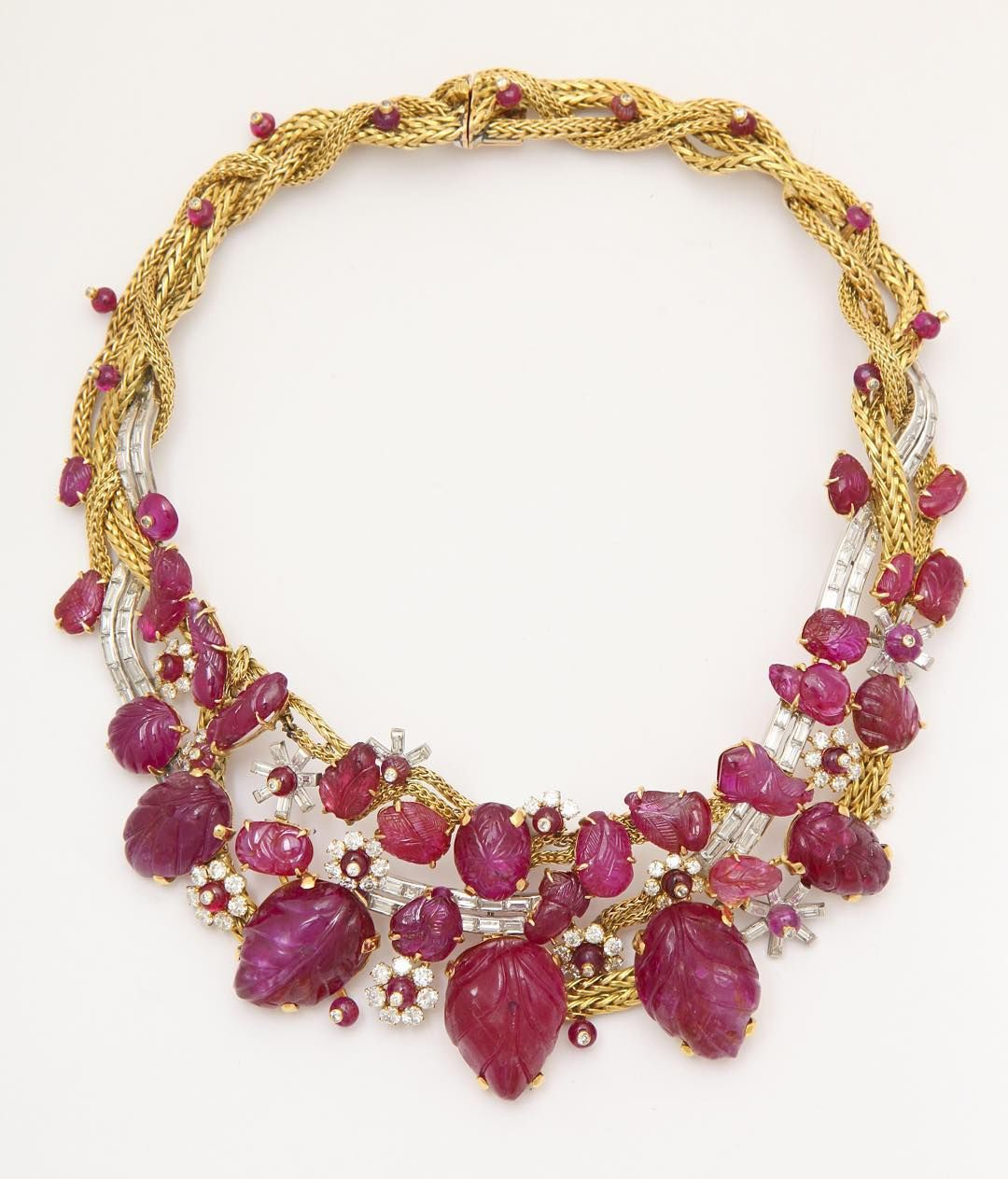 47105cfa4 Old carved Mughal rubies set in a French 1950s gold and diamond necklace by…