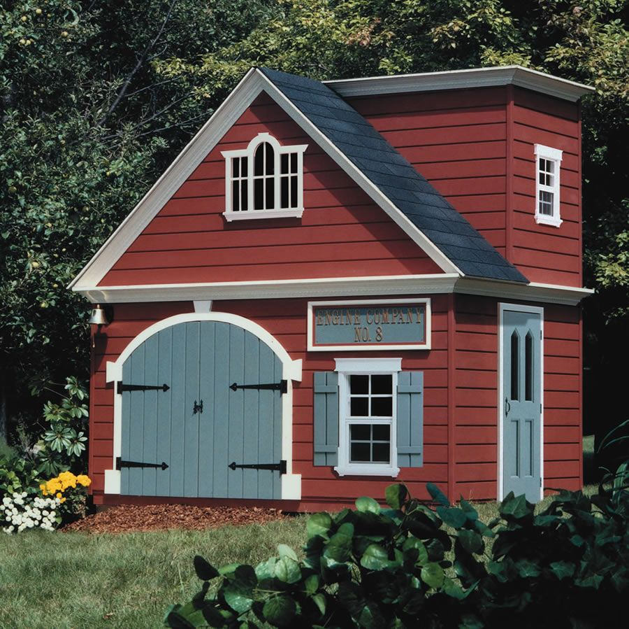 exterior remarkable palyhouse design idea with red wall gray door