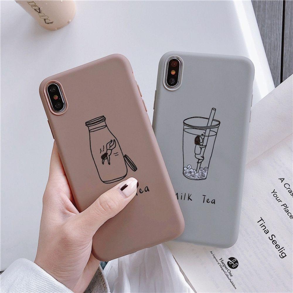Cartoon Milk Tea Fitted Case für iPhone   – Dressing
