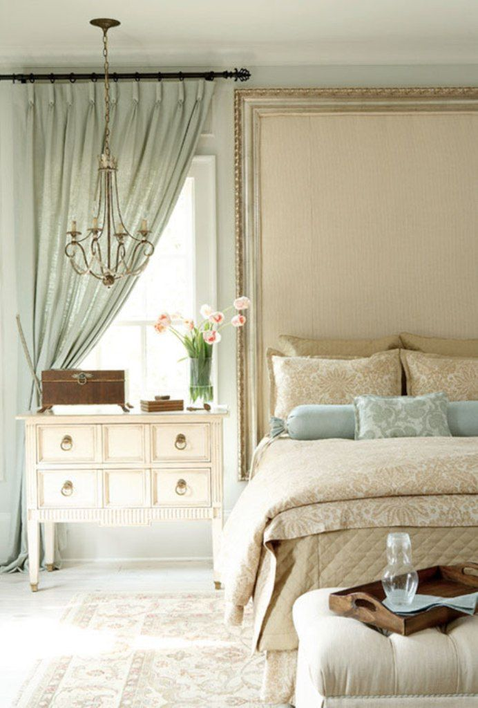 Sage Green Curtain And Classic White Side Table For Sweet Master