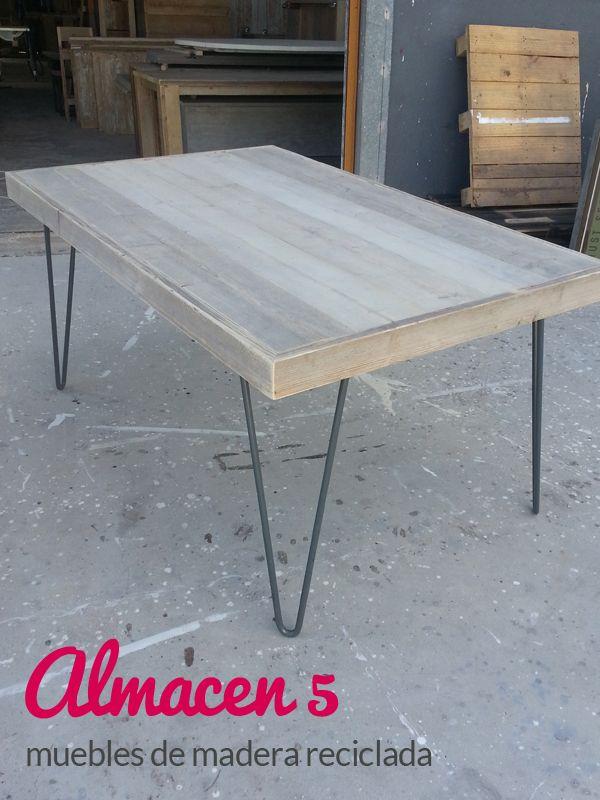 Mesa de madera reciclada con patas de forja hacemos for Mesas de madera precios