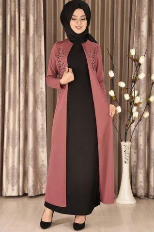 Modamerve Inci Islemeli Cift Parca Gorunumlu Elbise Gul Kurusu Siyah Myg 1624 Musluman Modasi Islami Giyim Giyim