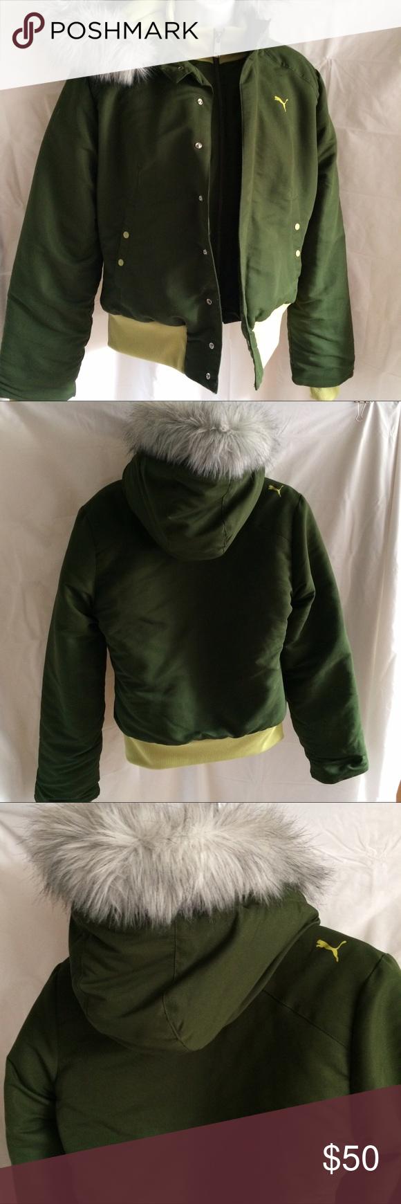 986a694c1f53 Jacket by Puma Jacket by Puma Size Medium Pretty Fur Trim on Hood Light  Green lining Cute Puma Kitty Logo on Back Right Shoulder Puma Jackets    Coats ...