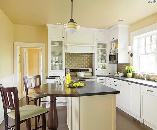 Small-Space Kitchen Island Ideas Dark countertops, Dining area and