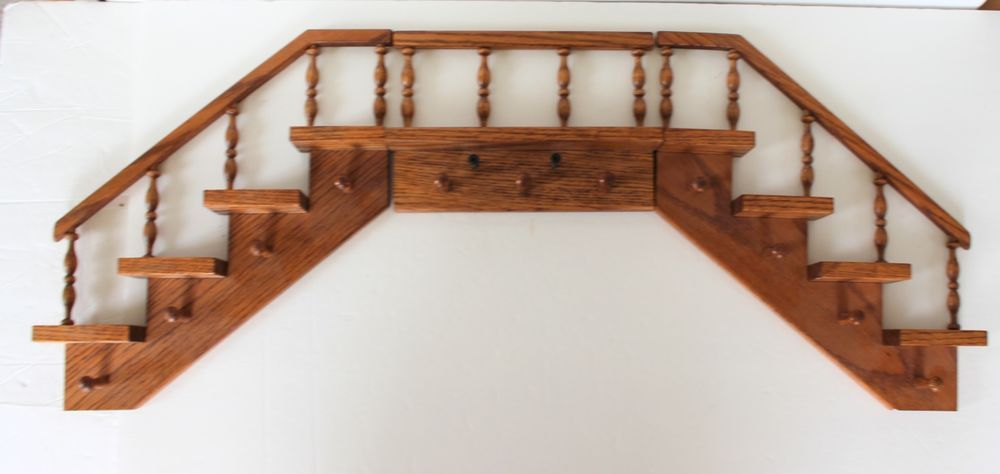 Wood Stair Step Wall Shelves Wooden 3 Pieces Pegs Rails Hanging Shelf Unbranded Wall Shelf Display Wood Stairs Wall Shelves