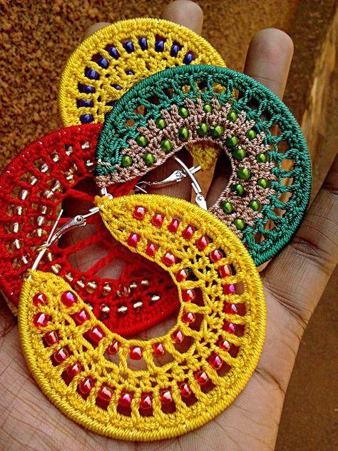 Bead Crochet Hoop Earrings by birschey.deviantart.com on @deviantART