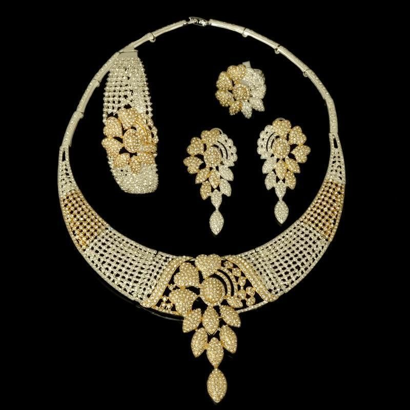 New High Fashion Dubai Jewelry Set Silver Gold Color Nigerian Wedding  African Beads Jewelry Sets Parure a12f2c530920
