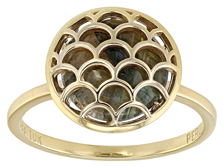 Pre Owned Grey Labradorite 10k Gold Ring Prg986 10k Gold Ring Yellow Gold Rings Gold Rings