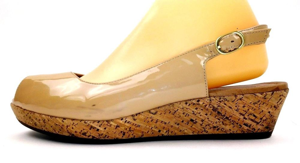 f0d2c764ddc Clarks Artisan Womens Wedges Size 9.5 Tan Patent Leather Peep Toe Slingback   Clarks  PlatformsWedges