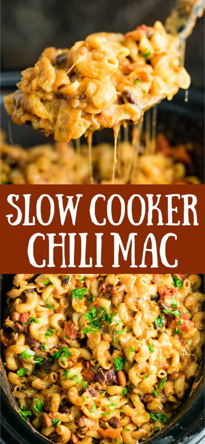 This Slow Cooker Vegetarian Chili Mac Recipe is made all in the crock pot (even the noodles!). A super easy vegetarian crock pot recipe that is perfect for chilly nights! #crockpot #chilimac #vegetarian #slowcookercrockpots
