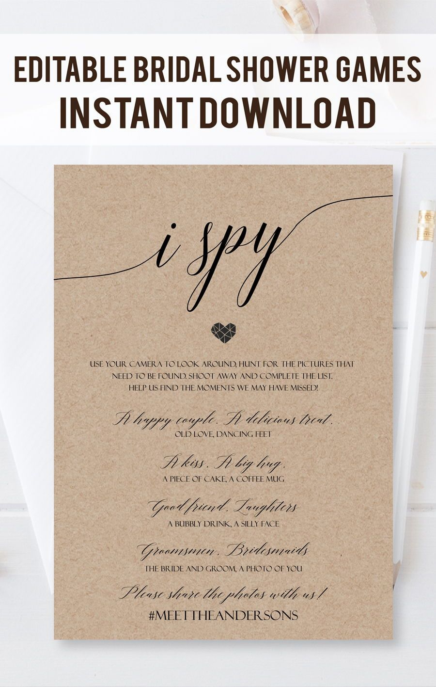 100% CUSTOM Printable Wedding I Spy Game Cards, I spy wedding game ...