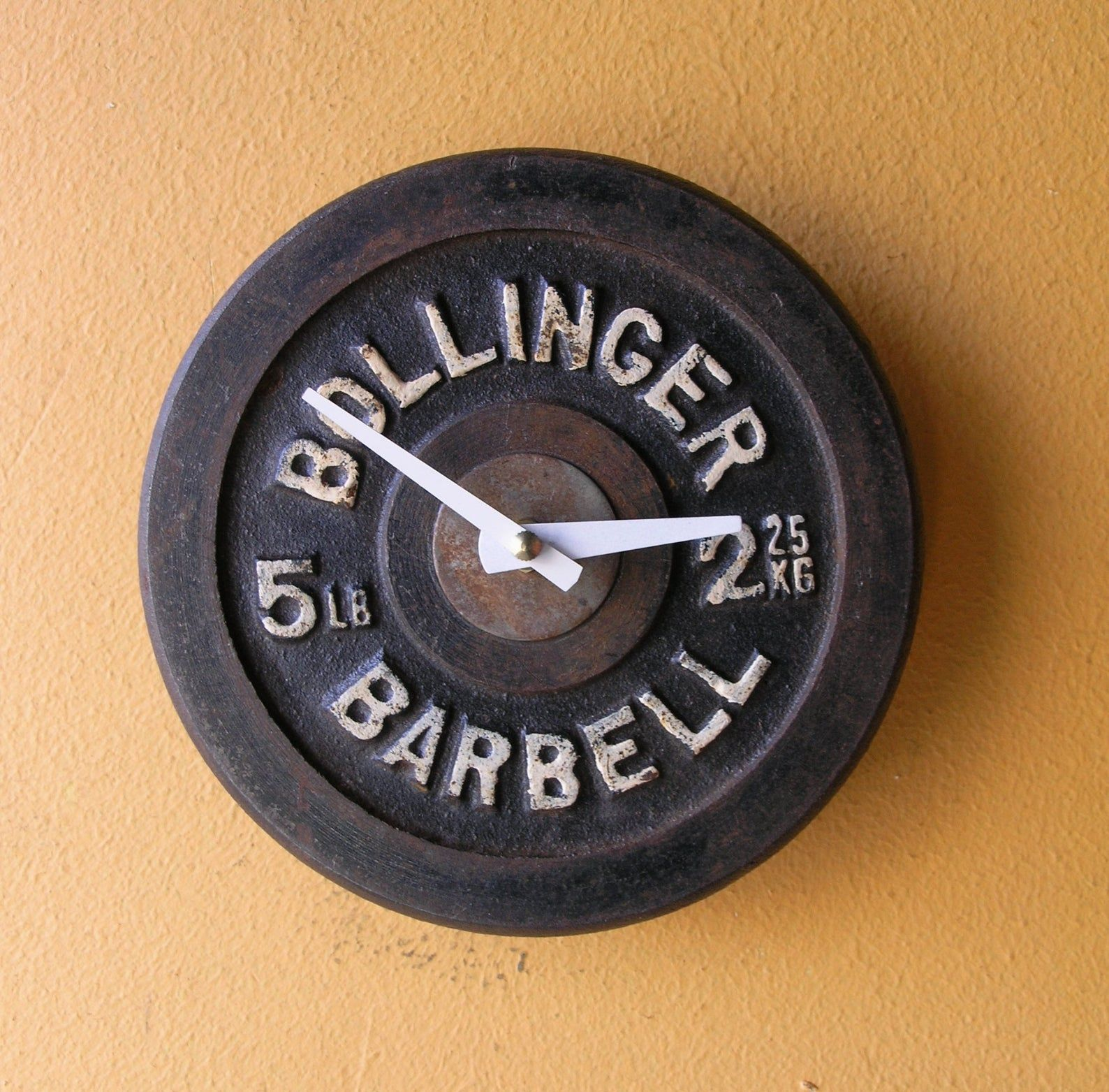 Barbell Wall Clock Real Bollinger 5 Pound Dumbell Weight Etsy Barbell Weights Fitness Gifts Clock