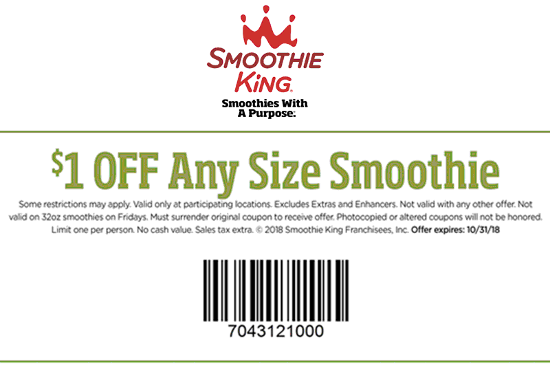 Pinned October 17th 1 Off Any Smoothie At Smoothieking Thecouponsapp Smoothie King Shopping Coupons Coupons