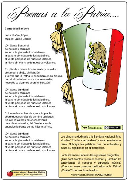 Poemas A La Patria Actividades Ludicas Educativas Poema De La Bandera Canto A La Bandera Actividades De Nombres En El Preescolar