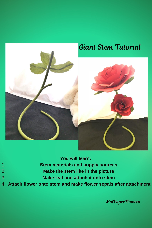 Diy Flower Stems Self Standing Paper Flower Stem Tutorial Stem