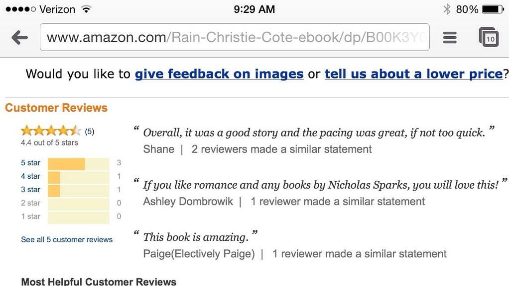 #Amazon selected quotes from people's reviews for #Rain! Is your review on there?! Very cool!   #review #newrelease