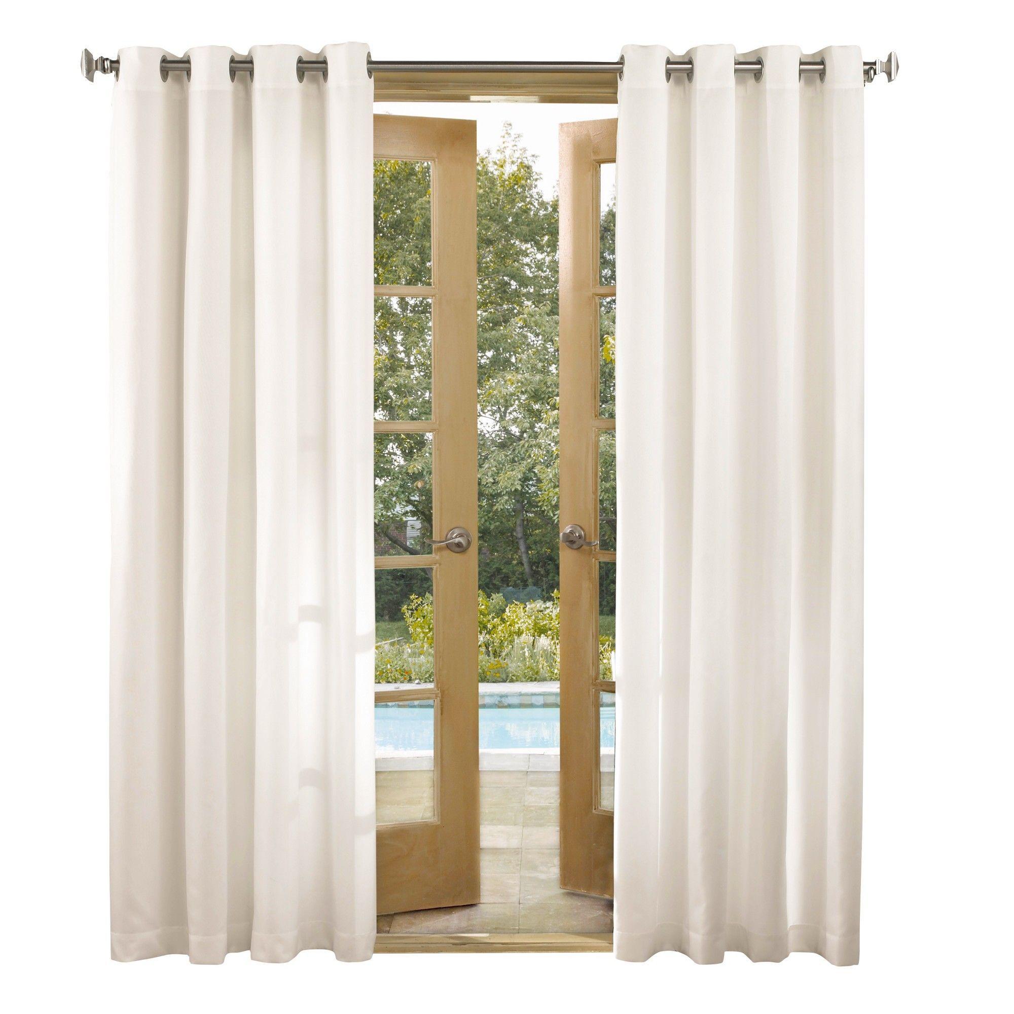 Rodham Indoor Outdoor Energy Efficient Uv Resistant Curtain Panel White 52 X95 Sun Zero Outdoor Curtains Indoor Outdoor Outdoor Curtains For Patio
