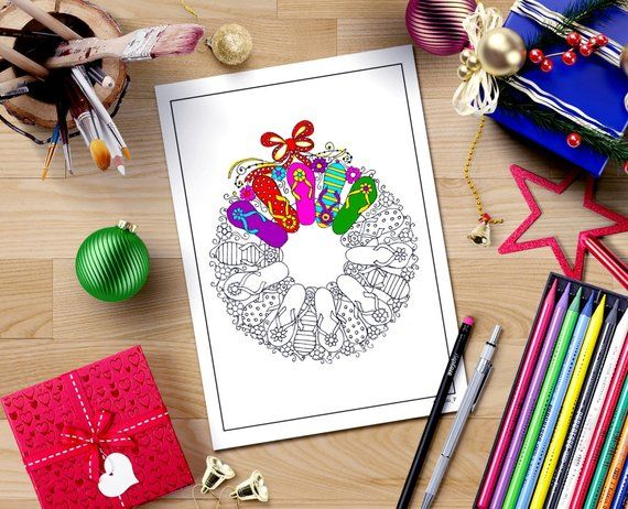 Photo of adult Christmas coloring page download, flip flop wreath doodle art, printable women gift, adult coloring book, diy printable Christmas,