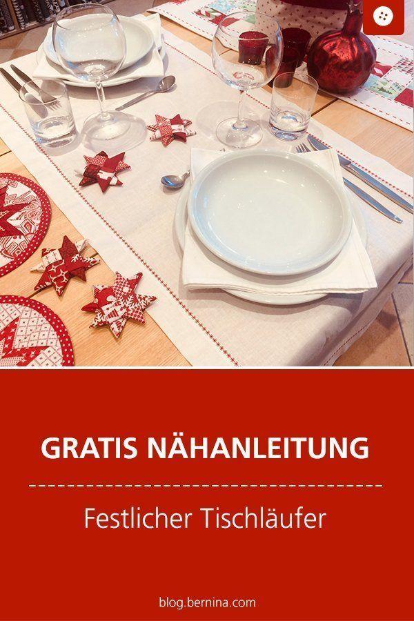 Nähanleitung: Festliche Tischläufer für den Weihnachtstisch