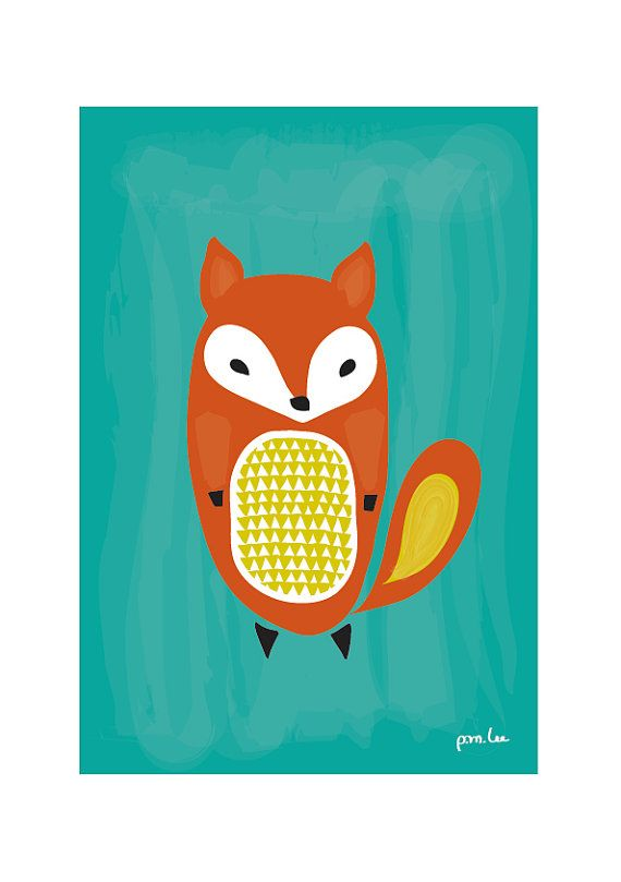 Baby Fox 2- Art Print Animal Illustration Children decor, Kids Room, Wedding Birthday Anniversary Gifts on Etsy, $18.00