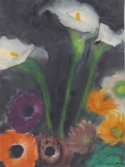 Artwork By Emil Nolde Lilien Und Mohnblumen Made Of Watercolour On Japan Paper