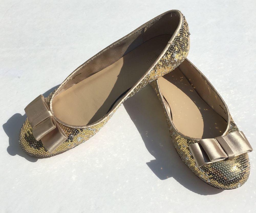 Kate Spade New York Shoe Size 7M Ballet Flat Sequin Gold Silver Satin Bow   eBay