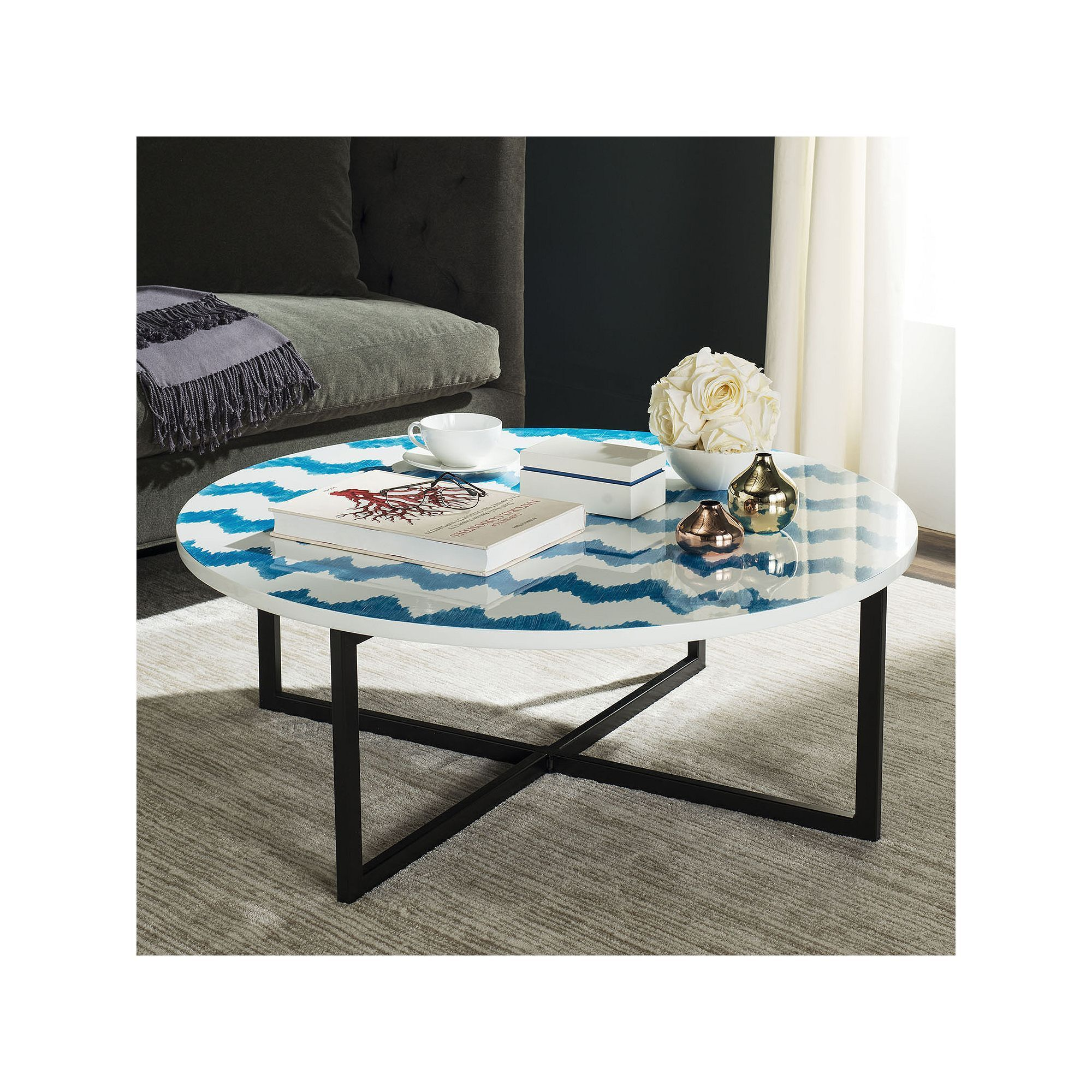 Safavieh Chevron Round Coffee Table Coffee Table Round Coffee Table Coffee Table With Storage [ 2000 x 2000 Pixel ]