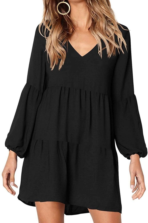 Amoretu Women Summer Tunic Dress V Neck Casual Loose Flowy Swing Shift Dresses Video Shift Swing Dress Dresses Tunic Dresses Outfit [ 1500 x 1000 Pixel ]