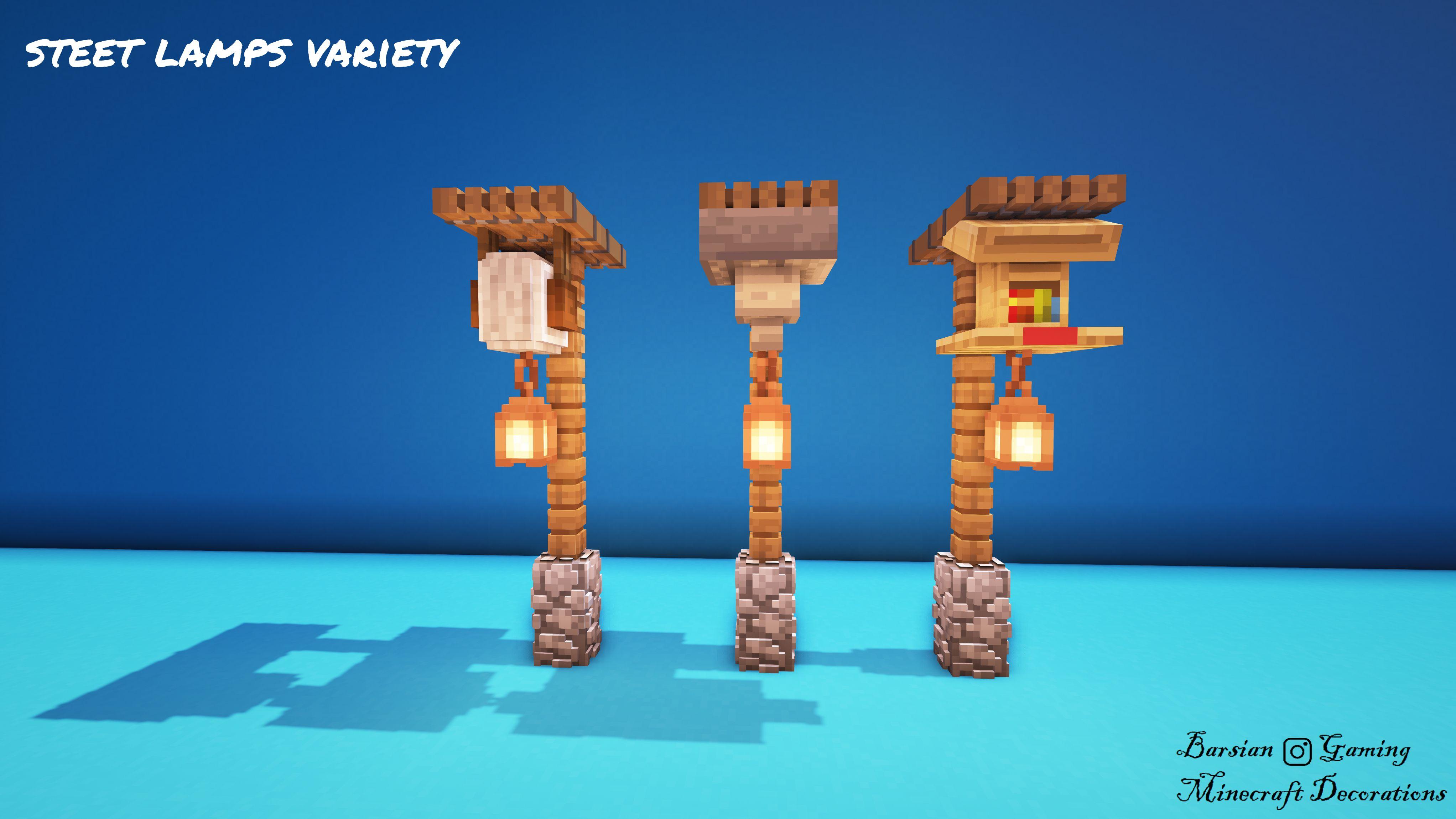 Street Lamps Variety In 2020 Minecraft Designs Minecraft Decorations Minecraft Creations