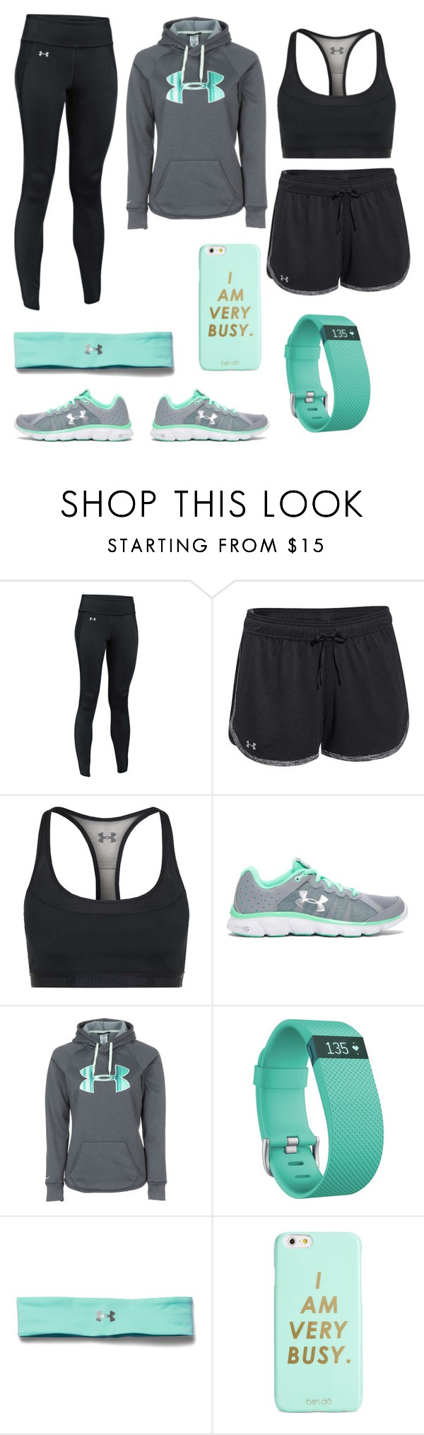 """My Look"" by alivia-morgan ❤ liked on Polyvore featuring Under Armour, Fitbit and ban.do"