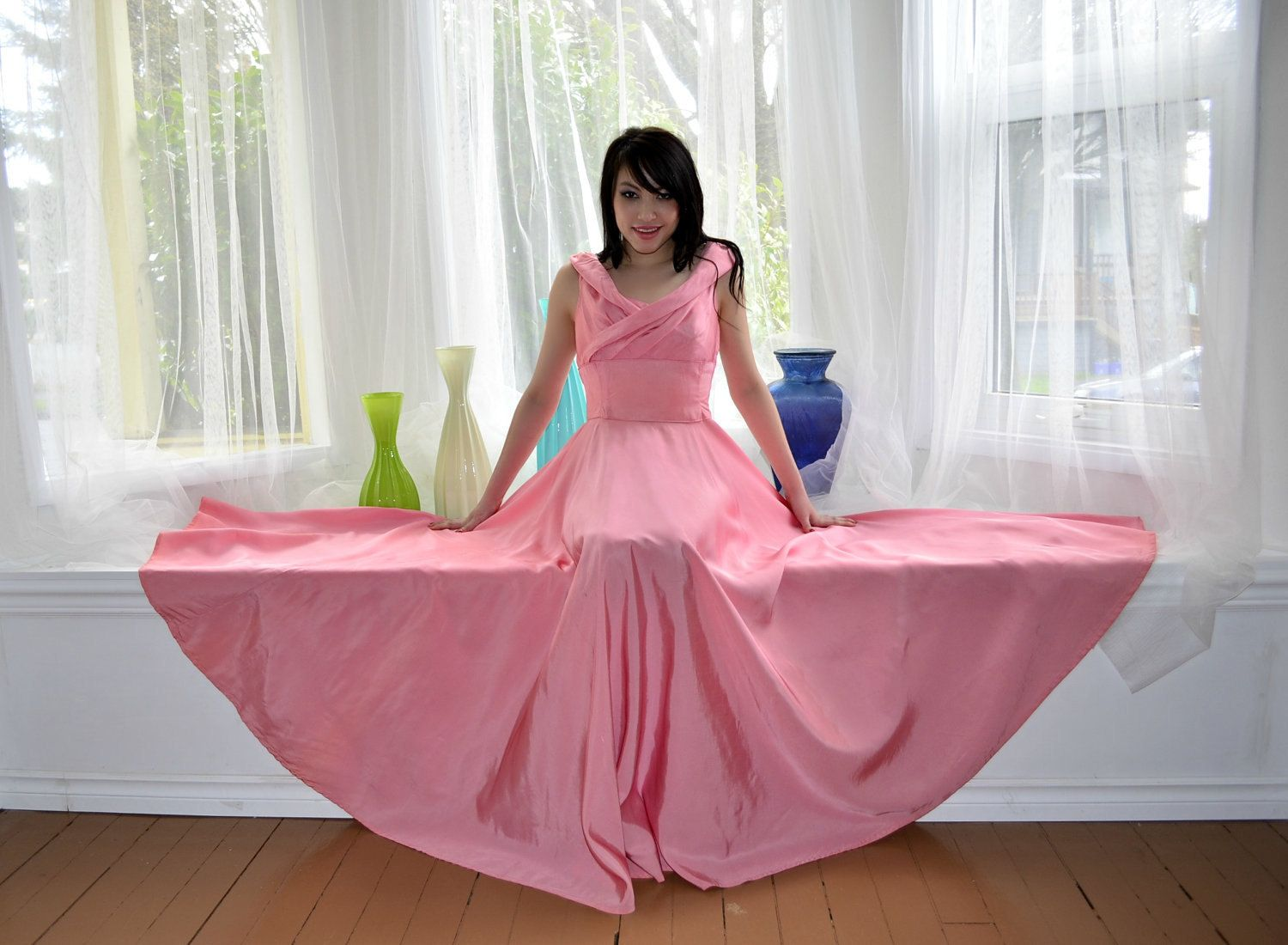 Pink rayon evening gown m vintage s huge sweep party prom gowns