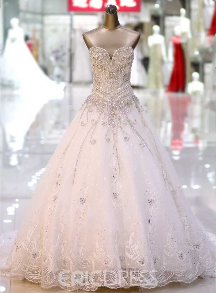 f9bcc8d843a4 Sweetheart Rhinestone Appliques Cathedral Wedding Dress 11063197 - Ericdress .com