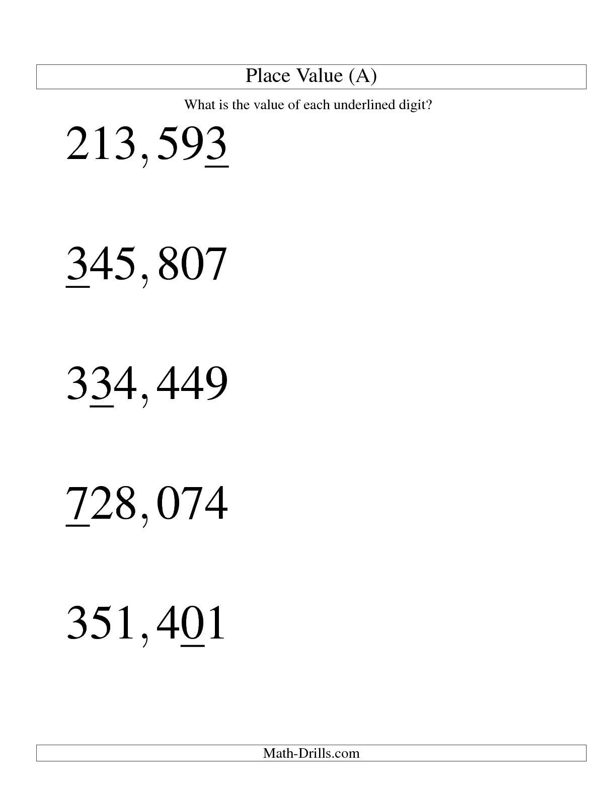 Free Decimal Place Value Worksheets Pictures