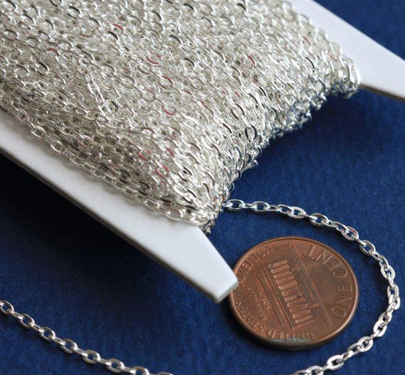 15 ft Antique Silver Plated Flat Cable Chain 2x3mm