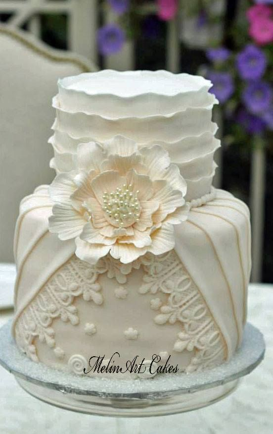 Pleated, Ruffled Couture wedding cake - Pleated, Ruffled Couture wedding cake