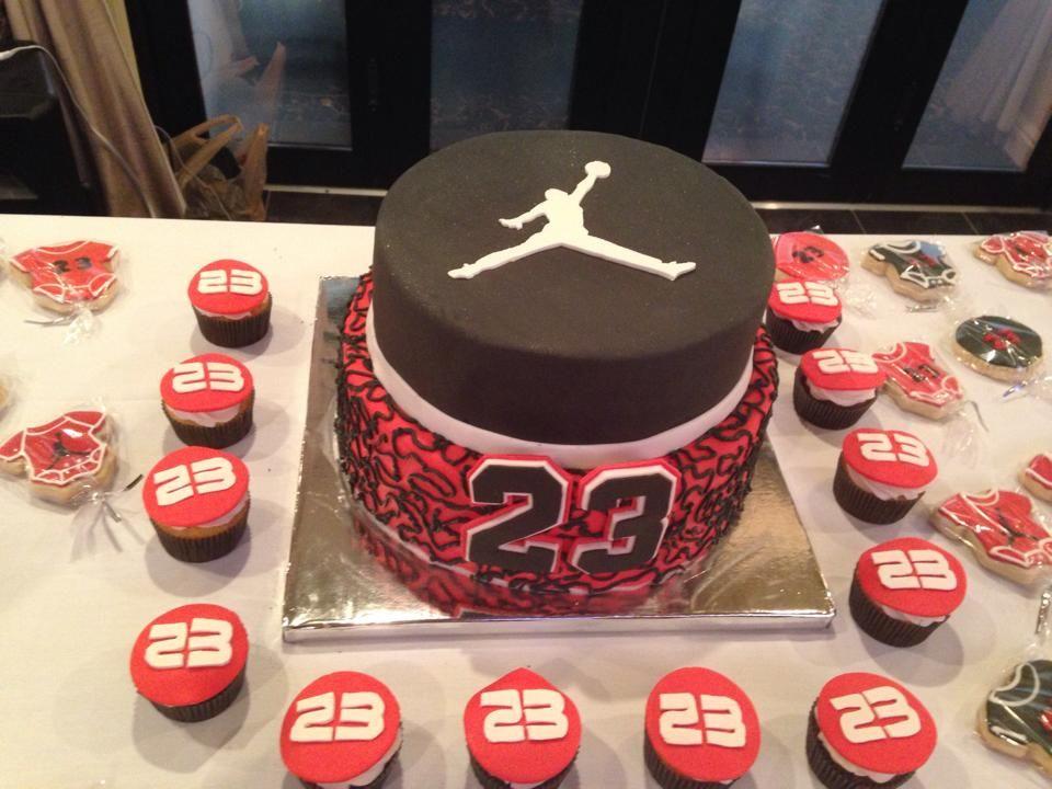 Jordan Cake With Cupcakes Jordan Cake Happy Birthday Cakes
