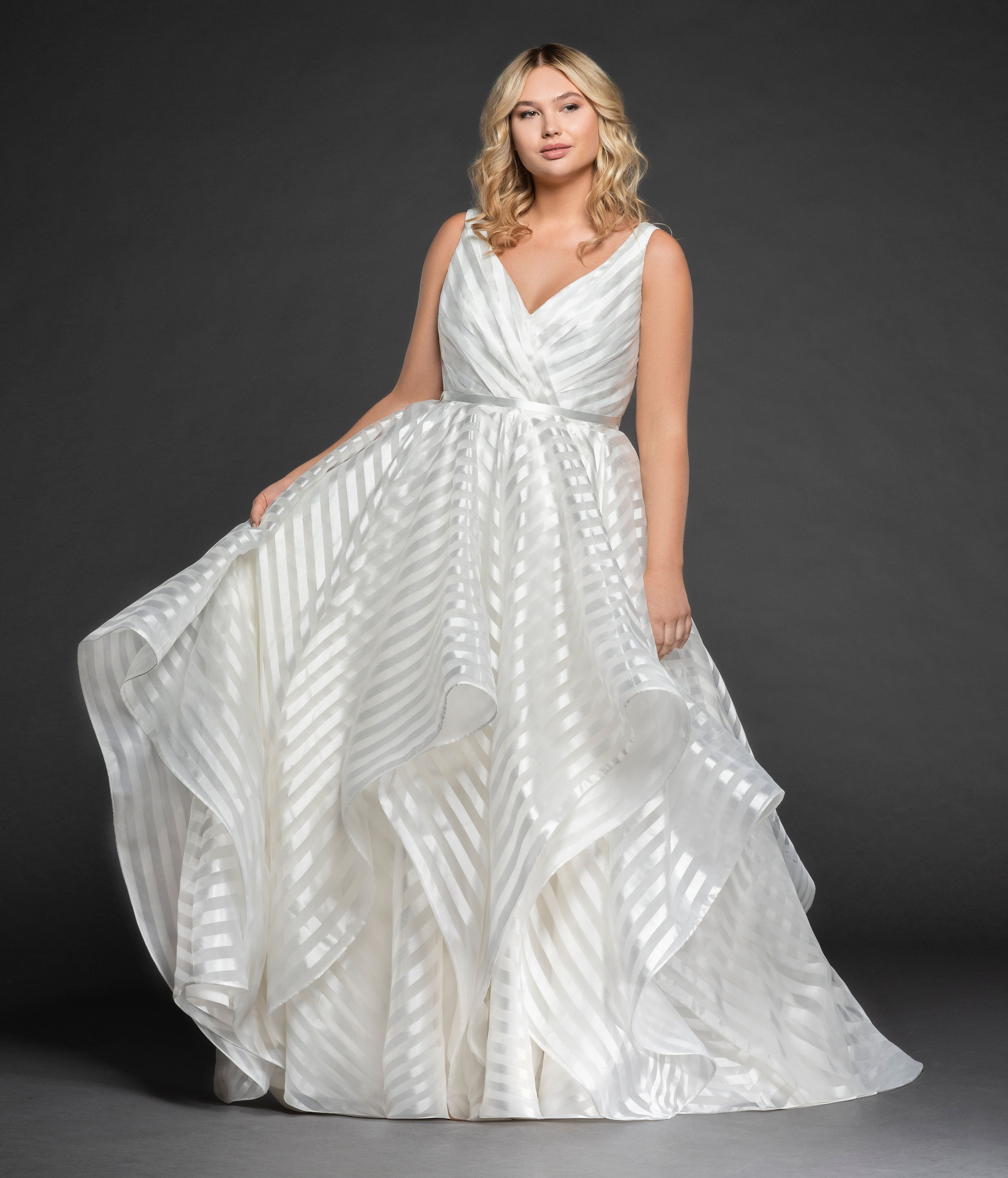 Ivory Striped Organza Ball Gown Draped Ballerina Bodice With Curved V Neckline Full Cascading Sk Striped Wedding Dress Ball Gown Wedding Dress Organza Bridal [ 3506 x 3000 Pixel ]
