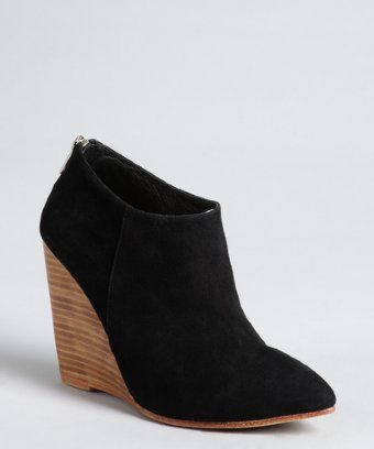 Madison Harding : black suede pointed toe 'Hurley' wedge ankle boots