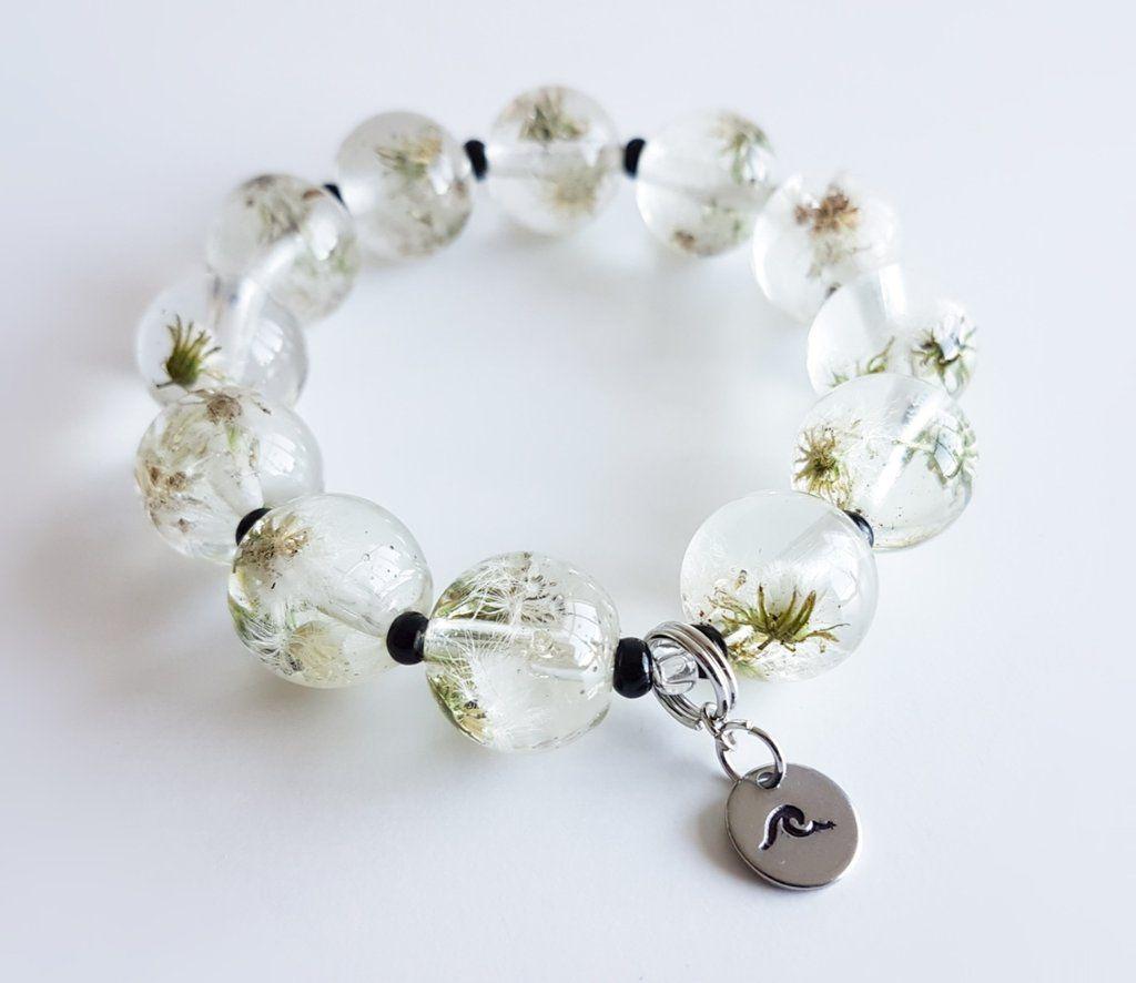 d386e476c4d Mini Dandelion 16mm Resin Beaded Bracelet   Resin Bracelets   Resin ...