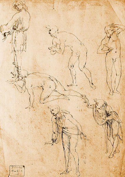 Six Figures Study For An Epiphany Giclee Print Poster by Leonardo Da ...