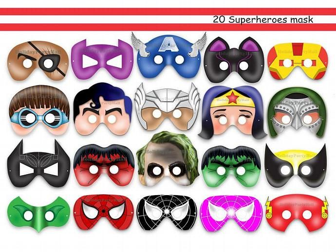 Unique Comic Hero Printable Masks Collection, superhero party, super hero, props, decoration, kids dress up mask, avengers, heroes masks