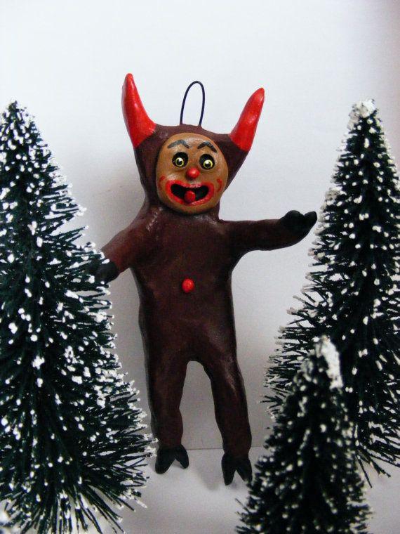 Vintage Style Folk Art Krampus Christmas Devil by seasonsart1031