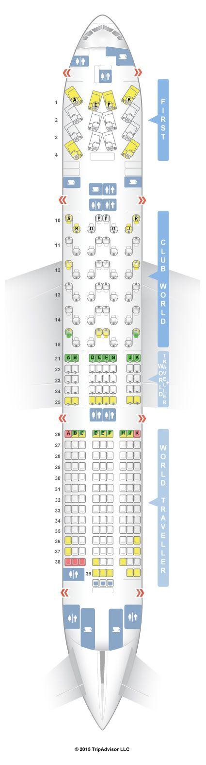 British Airways 777 Seat Map SeatGuru Seat Map British Airways Boeing 777 200 (772) Four Class