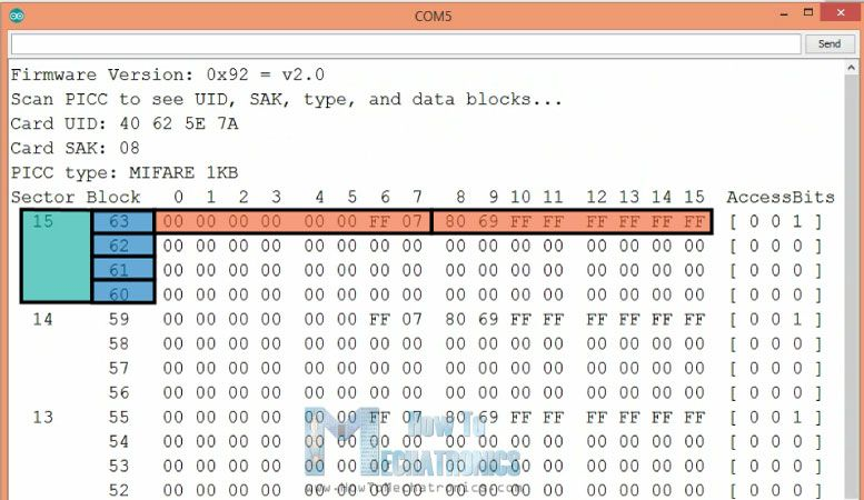 Arduino MFRC522 library Dumpinfo Example | d