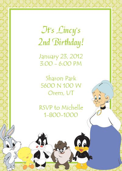 Looney Tunes Free Birthday Invitation Birthday Invitation