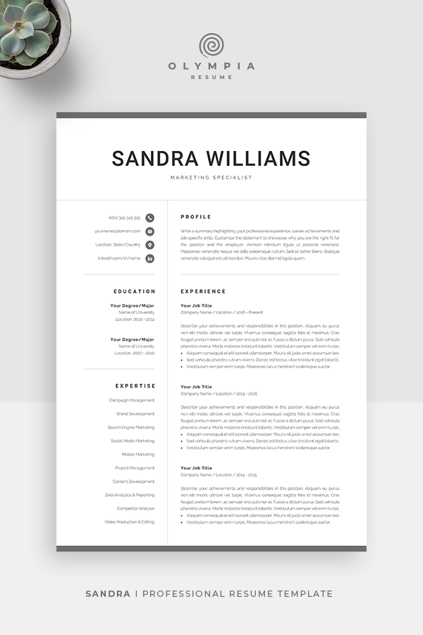 Professional Resume Template For Word Modern Marketing Cv Etsy Resume Template Professional Resume Template Professional Resume