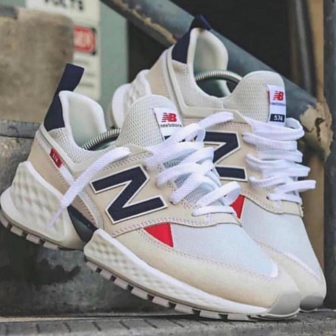 NEW BALANCE 574 SNEAKERS WHITE BLUE RED