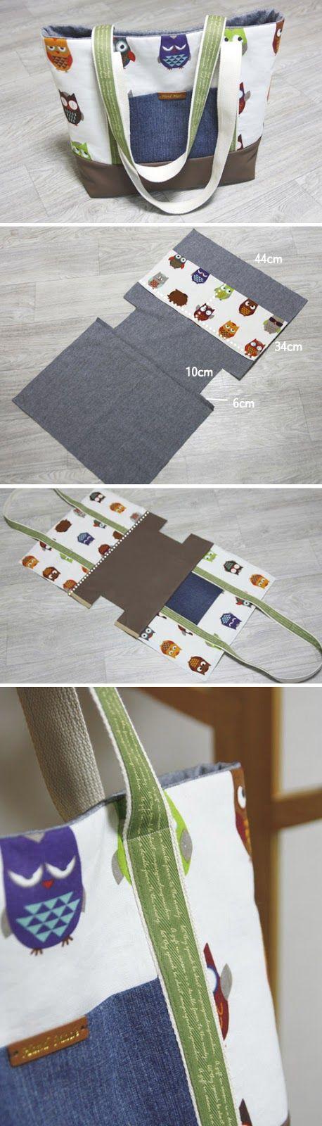 Easy Canvas Tote Bag with Pocket. Step by step DIY Tutorial. www.handmadiya.co...